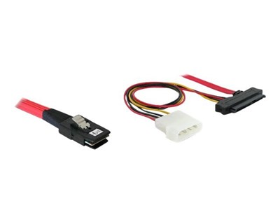 Delock Serial Attached SCSI (SAS) internt kabel 0.5m 36 pin 4i Mini MultiLane SAS (SFF-8087) Han 29 pin intern SAS (SFF-8482), 4-PIN intern strøm
