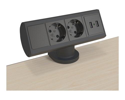 Kondator Smartline Desk Svart 2 X Ström / 2 X Usb Laddning
